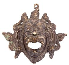 Bronze Mahakala Wrathful Deity Mask Pendant