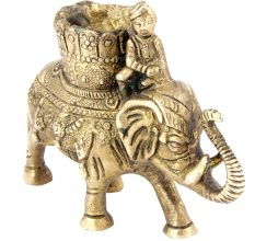 Brass Elephant With Mahawat Statue