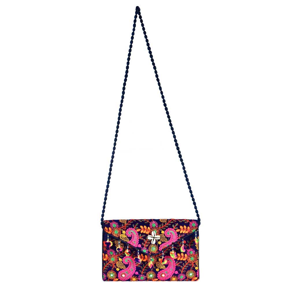 Navy  Multi Colored Shoulder Bag With Pom Pom