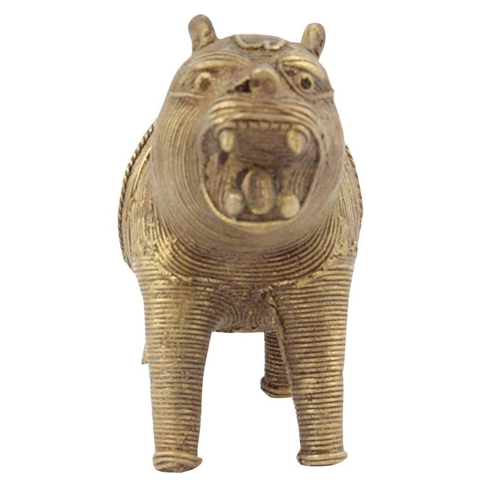 Hand Carved Brass Dhokra Lion Napkin Holder