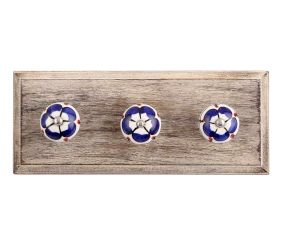 Navy Blue Ceramic Wooden Hooks