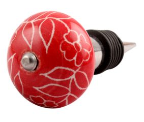 Red Leaf Floral Ceramic Wine Stopper