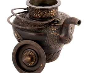 Brass Copper Teapot with Engraved Scrolls and Flower Motifs