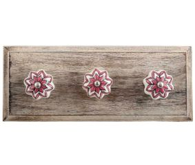 Pink Dahlia Medium Ceramic Wooden Hooks