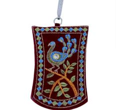Maroon Peacock Mini Purse / Mobile Pouch For Womens Hook