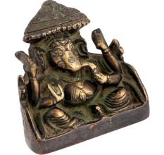 Brass Ganesh Statue Sitting On Throne In Royal Easy Posture Blessing
