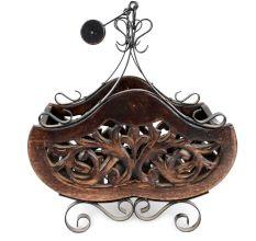 Wooden Wrought Iron  Magazine Rack