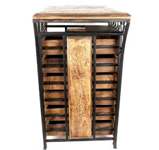 Wooden And Wrought Iron Hand Carved Cabinet With 6 Drawer