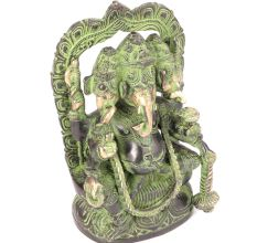 Brass Three Headed Ganesha Sculpture With Patina