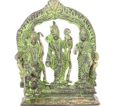 Brass Patina Ram Darbar Statue with Ram, Sita, Laxman & Hanuman