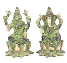 Brass Lakshmi  Ganesh Seated On A Lotus Patina Satue