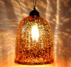 Yellow Antique U Shaped Glass Ceiling Lamp