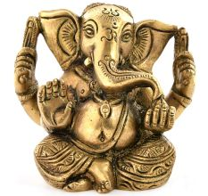 Engraved Brass Ganesha Statue With Big Ears