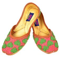 Pink Handcrafted Punjabi Jutti Decorated With Green Beads