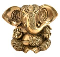 Engraved Brass Sitting Ganesha Statue Large Ears