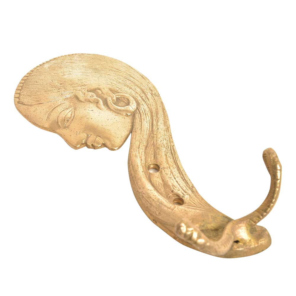 Brass Lady Face Wall Hooks with Long Hair