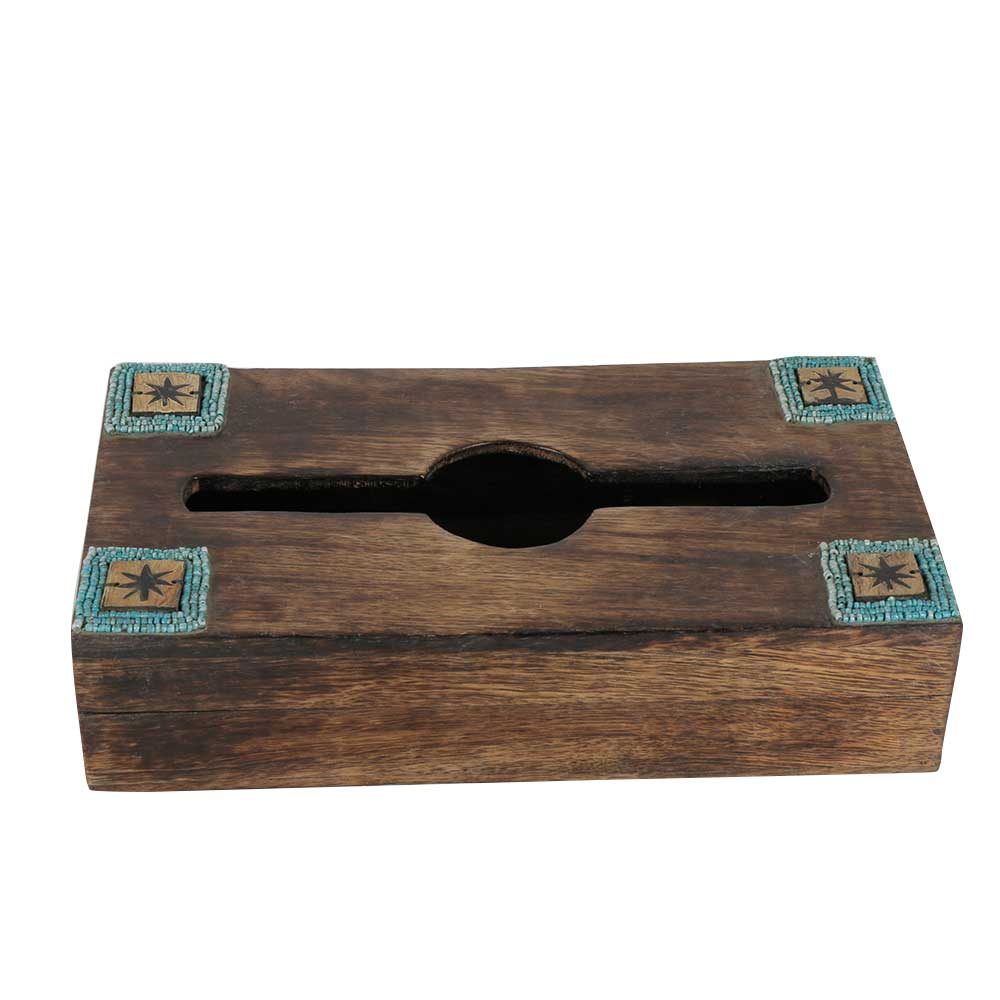 Wooden Rusted Look Handcrafted Tissue Box