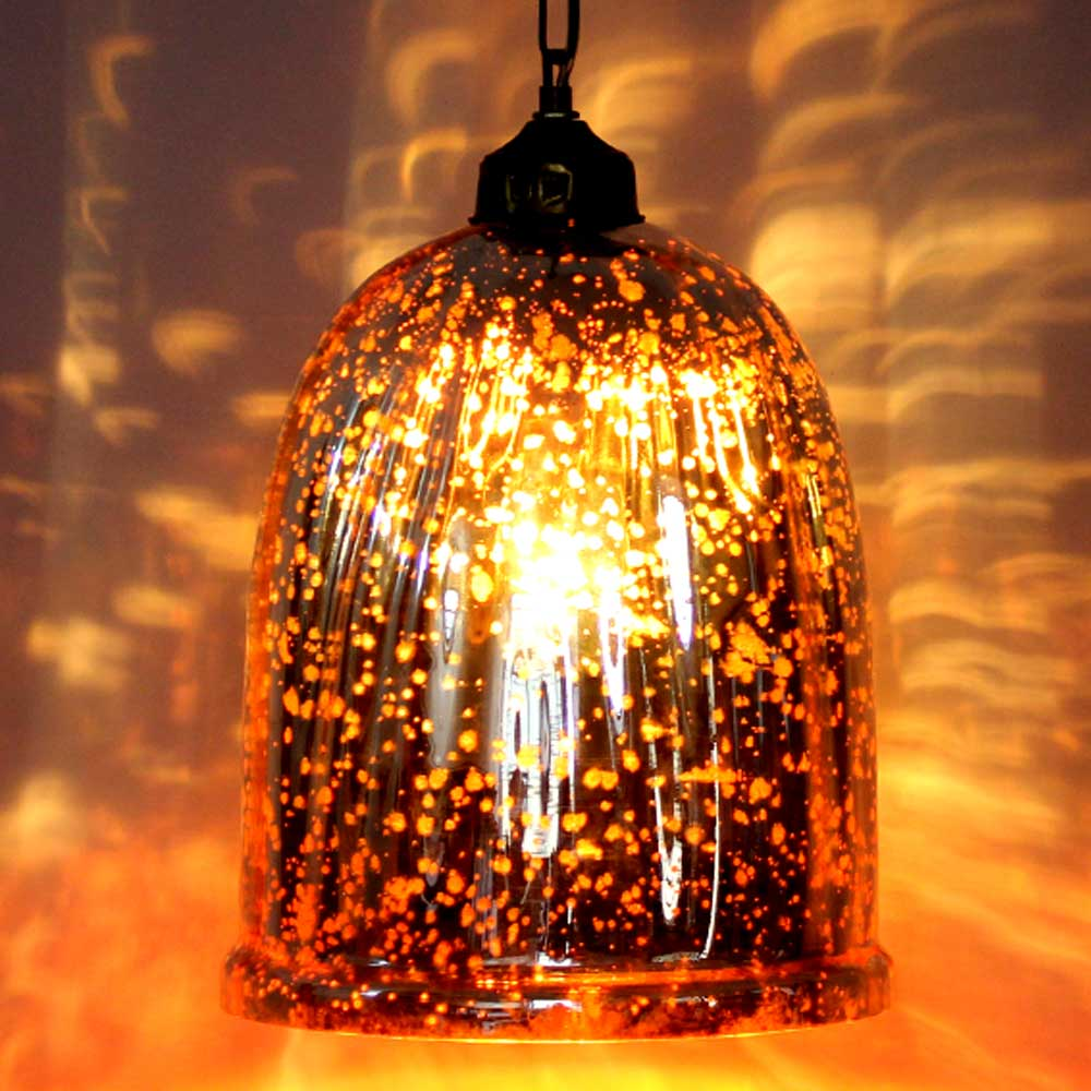 Red Antique U Shaped Glass Ceiling Lamp