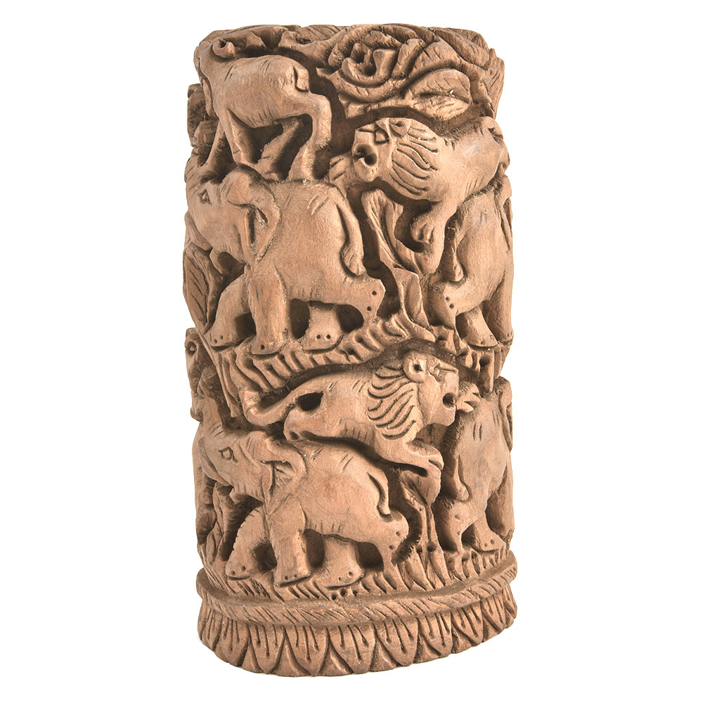 Wooden Block Engraved with Elephants Lions Showpiece