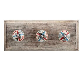 Blue and Red Ceramic Wooden Hooks