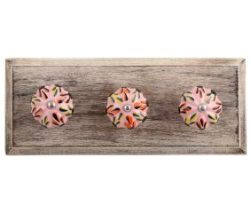 Mixed Color Leaf Ceramic Melon Wooden Hooks