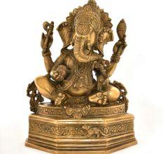 Bronze 4 Hand Ganesha Figurine