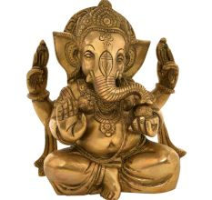 Brass Ganesha With His Trunk On The Modak