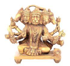 Brass 12 cm Panchamukhi Hanuman 5 Head Statue