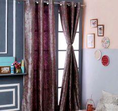 Turkish Bath Jacquard Door Curtain Set Of 2: Floral