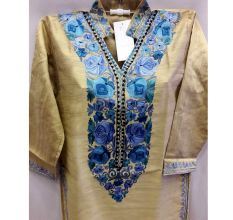 Golden Yellow Summer Kashmiri Embroidered Long Kurti