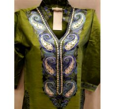 Grass Green Summer Kashmiri Embroidered Long Kurti