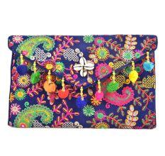Navy Blue Tribal Ethnic Gypsy Clutch Shoulder Bag