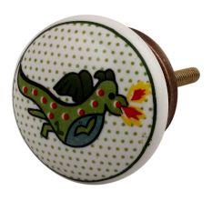 Sea Green Dragon Ceramic Flat Dresser Knob Online