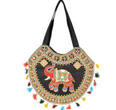 Black Hand Made Boho Embroidery Round Bag