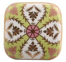 Golden Leaf Flower Square Ceramic Drawer Knob Online