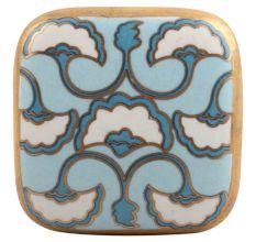 Turquoise Sea Shell Design Square Ceramic Cabinet Knob Online