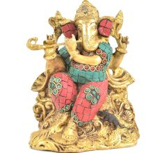 Brass Ganesha With Flute In His Hand