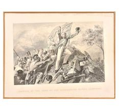 Lithograph Capture Of The Guns By The Highlanders Before Cawnpore