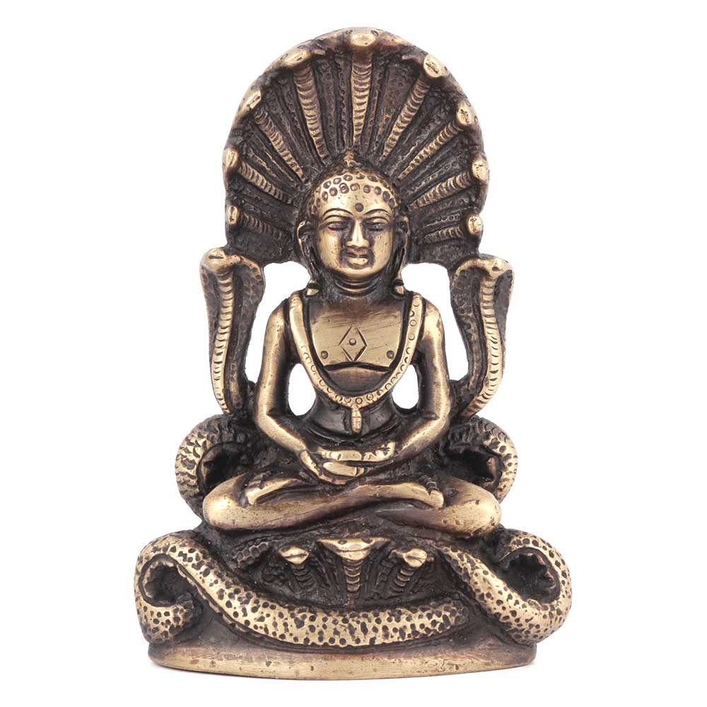 Buddha in Meditation with Protective Naga Snake Statue