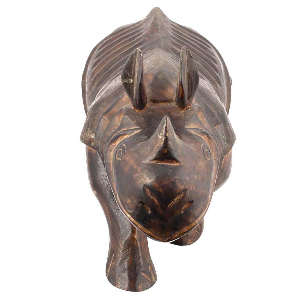 Teak Wood Rhino Carving Carved Rhinoceros Sculpture