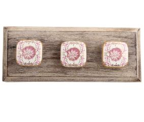 Pink Flower Square Ceramic Wooden Hooks