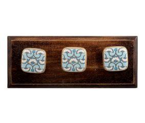 Turquoise Sea Shell Design Square Ceramic Wooden Hooks