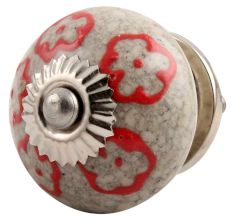 Red Embossed Tiny Flower Crackle Ceramic Drawer Knob Online