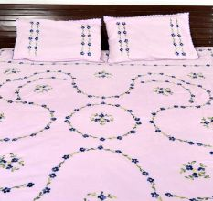 Pearl Blush  Cotton Blue Petals Floral Embroidered Double Bedsheet with Two Matching Pillow Cases