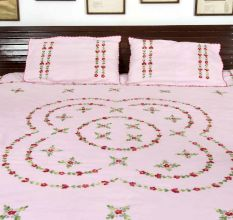 Pink Embrace  Double Cotton Red Petals Floral Design Bedsheet With Two Matching Pillow Covers