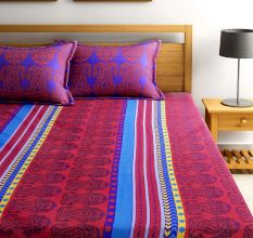 Bombay Dyeing Dew Drops Bedsheet With Two Pillow Covers: Ethnic