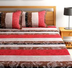 Bombay Dyeing Dew Drops Bedsheet With Two Pillow Covers: Stipes
