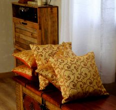 SWHF Cushion Cover Set Of 5 Floral Gold