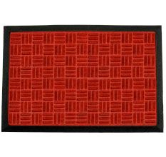 SWHF PP Embossed Rubber Door And Floor Mat : Red Criscross