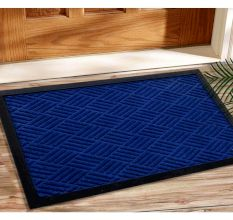 SWHF PP Embossed Rubber Door And Floor Mat : Navy Blue Diamond